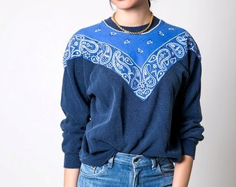 The Vintage 50/50 Blue Bandana Trim Crewneck Sweatshirt