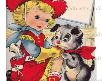 Cute Cow Girl in Cowboy Boots Image Digital Download vintage card 1950s pretty girl diy birthday invitation greetings bandana fence ranch