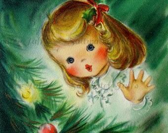 Cute Girl Admiring Tree Image Digital Download vintage holiday xmas christmas card vintage 1950s pretty ornament lights tree green holly