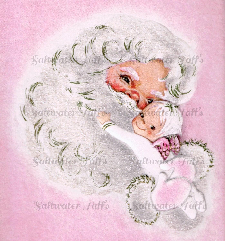 Pink santa claus holding baby angel image digital download