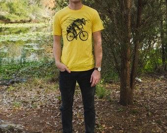 Bee on a Bicycle - Mens T Shirt, Unisex Tee, Cotton Tee, Handmade graphic tee, Bicycle shirt, Bike Tee, sizes xs-xxl
