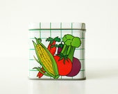 Vintage Vegetable Note Box / Metal Tin Desk Accessory / Grid Lines and Veggies with Corncob Pen