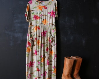 Short Sleeve Maxi Dress Yellow with Tropical Flowers Hawaii In Pink Orange and Green From Nowvintage on Etsy