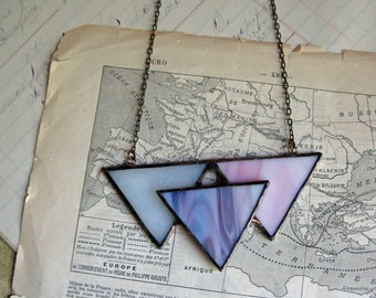Stained Glass Triangle Bib Necklace  Statement Jewelry Pinks and Purple