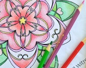 Love Blossoms From Within - Flower Mandala Coloring Page - Instant Download PDF