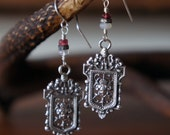 Ornate Baroque Louis XIV Style Silver Earrings with Opal, Diamonds and Spinel