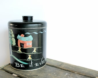 Vintage Ransburg Large Metal Canister Handpainted Farmhouse Cabin Cottage Chippy Decor