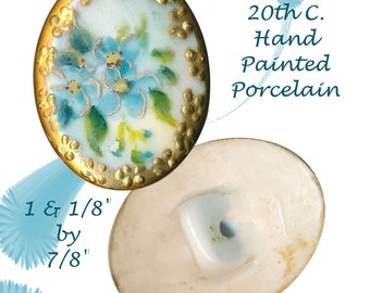 Button--Early 20th C. Oval Hand Painted Porcelain Forget-me-nots in Gold Border