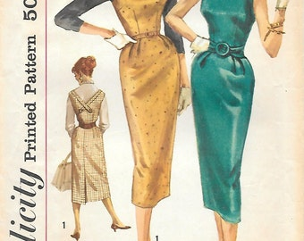 Simplicity 2275 1950s Pencil Skirt Dress with Low V Back Vintage Sewing Pattern Bust 31 Jumper Sleeveless Wiggle Skirt