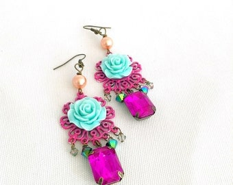 rose chandelier earrings, gypsy chandelier earrings, rose flower earrings, teal, dark pink, bohemian earrings