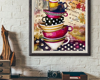 Art Print. Coffee Cups Divine. Candy Colored Edition