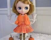 Three Piece Fall Outfit for Blythe...Hand Knitted Sweater...Pleated Skirt...Matching Top...Orange