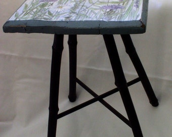 Hand Painted Furniture Farmhouse Accent Table with Botanical Wildflowers Bamboo Legs