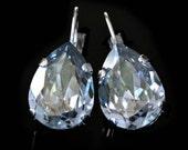 Crystal Blue Shadow Teardrops Set in Silver on Leverback Earrings, Silver Dangle Earrings