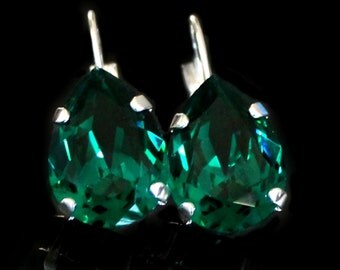 Swarovski Emerald Crystal Teardrops Set in Silver on Leverback Earrings, Silver Dangle Earrings