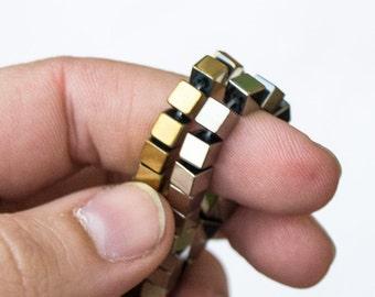 Hematite 4mm Cube Beads, Cube Hematite, Gold or Silver Color Hematite Cubes, Gold Hematite, Silver Hematite, Cube Beadsa, 4mm Cube Beads