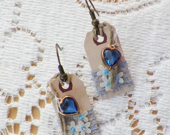 Handmade Mixed Media Assemblage, Tag Earrings, Pierced, Creamy Sequin Flowers, Vintage Blue Glass Heart, Lace, Boho, Victorian, Steampunk