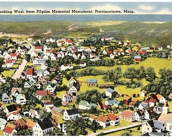 Vintage Cape Cod Postcard - Looking West from Pilgrim Monument, Provincetown (Unused)