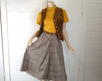 Brown plaid skirt | Etsy