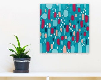 Abstract Painting, 12x12 Original Acrylic on Canvas Wall Art Modern Decor, turquoise magenta pink white, Simple Pleasures by Jessica Torrant