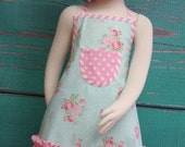 Kids Ruffle Apron - Vintage Pink & Teal Tea Party - Shabby Chic Apron