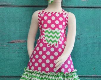 Kids Apron - Kids Ruffle Apron - Pink & Green Polka Dot