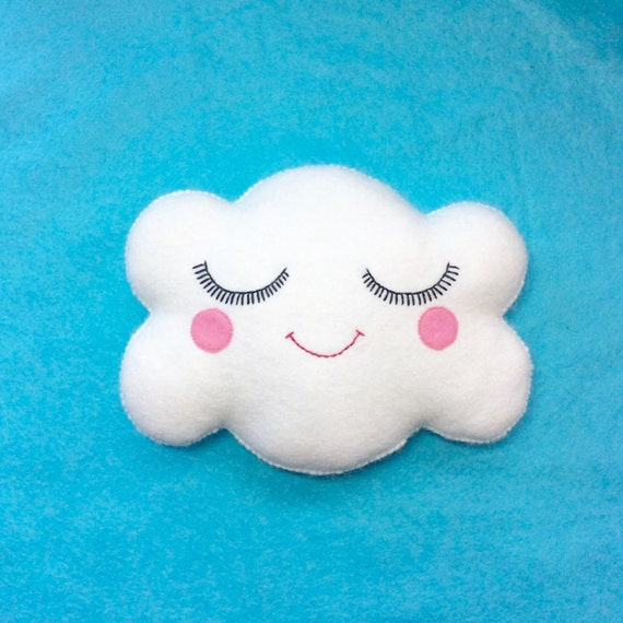 Cloud Cushion - Cloud Pillow - Cute Cloud - Kawaii Clouds - White Cloud Pillow - Nursery Decor - Happy Face Cloud - Valentines Day Gift