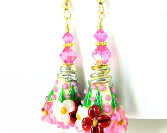 Pink Red Ivory Floral Gold Filled Dangle Earrings, Botanical Earrings, Lampwork Glass Earrings Flower Earrings Floral Jewelry Spring Jewelry