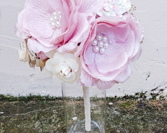 Shabby Chic fabric, Pearl and Paper Wedding Bouquet flowers Bridal - Large