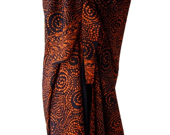 Beach Sarong Batik Pareo Mens or Womens Clothing - Black & Rust Brown Sarong Pareo Spiral Dots Swimsuit Cover Up - Beach and Swim Clothes