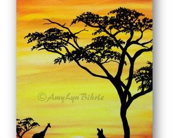 Wildlife Wonders - Giraffe African Tree Sunset Cottontail Rabbit - Art Prints by Bihrle wd196