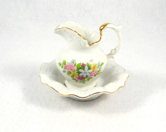 Lefton China Small Creamer Pitcher and Bowl
