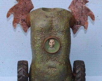 "Assemblage Mixed Media Found Object Shrine Doll Art "" Mental Confusion"""
