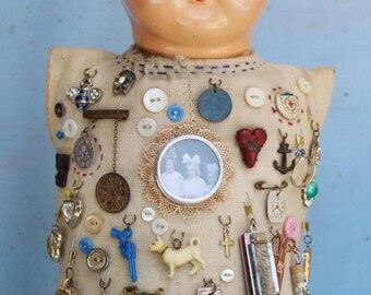 """Assemblage Found Object Shrine Mixed Media Art """"Memory Doll"""""""
