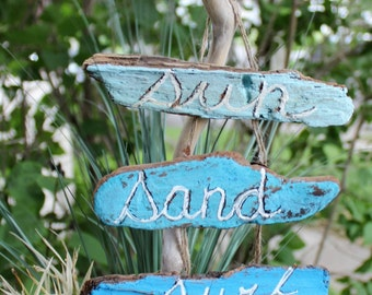 Driftwood Garden Stake With Sign - Sun Sand Surf ,  Hand Painted Beach House Decoration, Coastal Sign