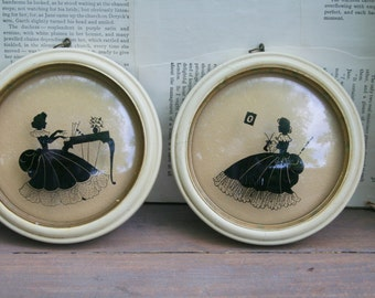 Hand Painted Victorian Round Wall Pictures