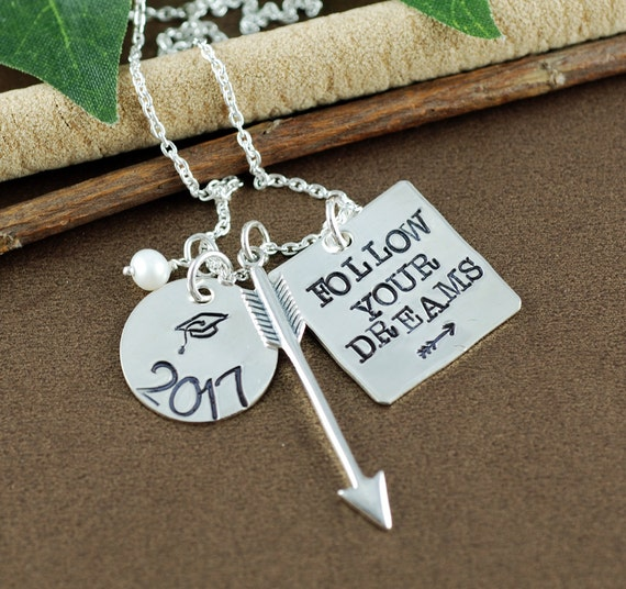 Follow Your Dreams Necklace | Graduation Necklace | Graduation Gift Necklace | Hand Stamped Necklace | Gift for Graduate | Compass Necklace