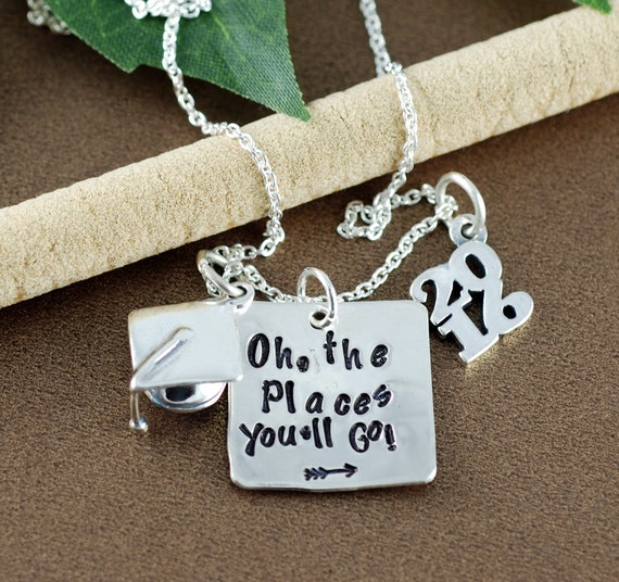 Oh the Places You'll Go Graduation Necklace | Personalized Graduation Gift | Hand Stamped Necklace | Gift for Graduate | Graduation Cap