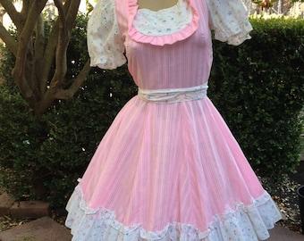 1960's Vintage Disenos De Munoz Pink Eyelet Ruffle Lolita Dress~Circle Skirt