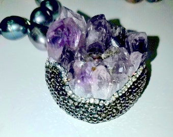 Amethyst Druzy Pendant with 12mm Black Baroque Rice Freshwater Pearl Necklace
