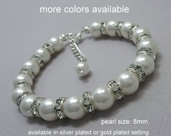 White Pearl Bracelet, Bridal Bracelet, Bridesmaid Bracelet, White Pearl Bracelet, Mother of the Bride Gift, Wedding Bracelet, Swarovski