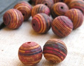 End of Summer - Rustic Stripes Round Beads - hand carved polymer clay rustic chunky multi-color - set of 2 (ready to ship)