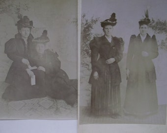 Lot/2 Antique Cabinet Photos-Fancy Ladies-Large Hats-1800's Fashion-Pins-Letter