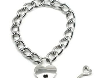 V-Day SALE Gothic Lolita Heart Padlock Bracelet - Prisoner of Love - Mini Version - Silver Toned with Working Key - By Ghostlove