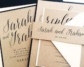 Wedding Invitation, Wedding Invite, Modern Calligraphy Wedding Invitations, Kraft Wedding Invitations, Wedding Invitation Suite