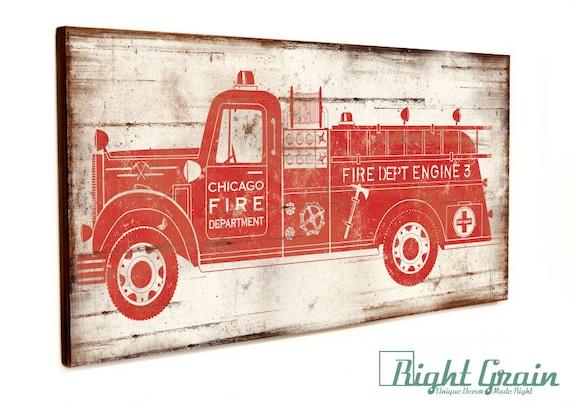 Custom Made Vintage Firetruck Wall Art Boys Room By RightGrain