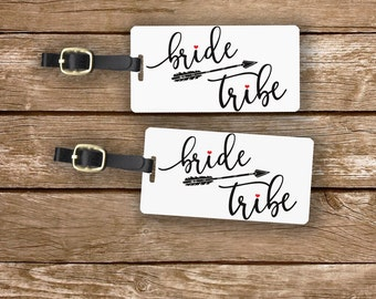 Bride Tribe Luggage Tag Metal Tag  , Personalized Printed Address, Quote or Message on Back Purchase 1 or a Set w Straps Bridesmaid Tags