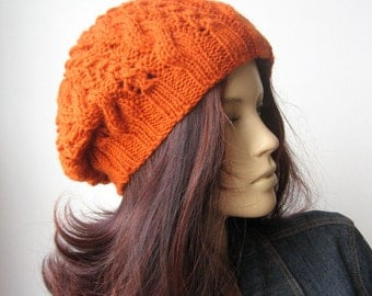 Orange Hand Knit Hat, Cable Slouchy Hat, Vegan Hat, Orange Cable Hat, The Stef Hat, Fall Accessories, Terracotta Hat, Womens Hat