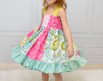 Girls Spring Dress - Mothers Day Dress - Stripwork Dress - Toddler Dress - Pink Aqua Dress - Twirl Dress - Dress for Pictures - Family Photo