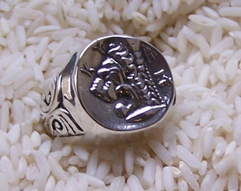 Heavy Mans Ancient Coin Replica Lion Ring